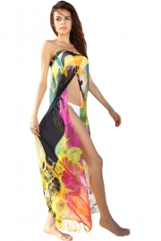 Yellow Floral Print Chiffon Beach Cover-up