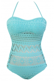 Light Blue Lace Halter Teddy Swimsuit