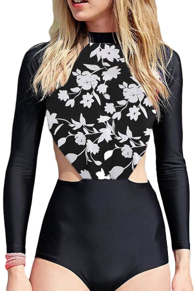 White Flowery Print Long Sleeve Surfing One Piece Swimsuit