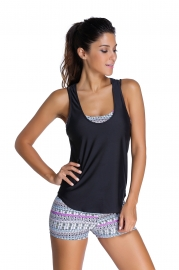 Grayish Sports Bra Tankini Swimsuit with Black Vest