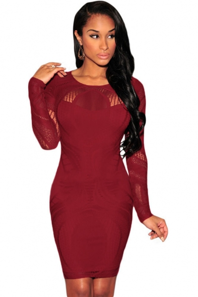 Date Red Lace Nude Illusion Long Sleeves Bodycon Dress