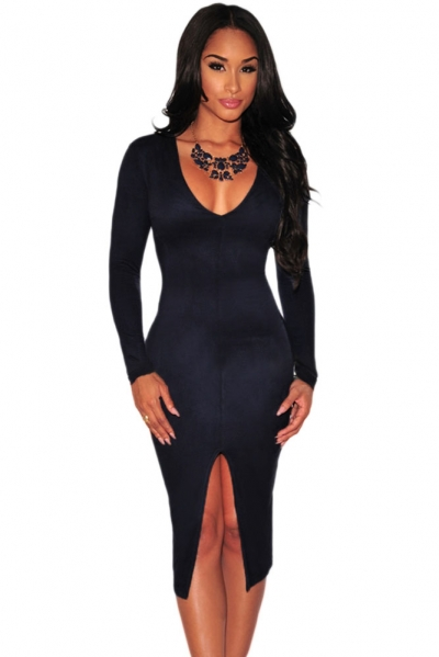 Navy Faux Suede Long Sleeves Slit Dress