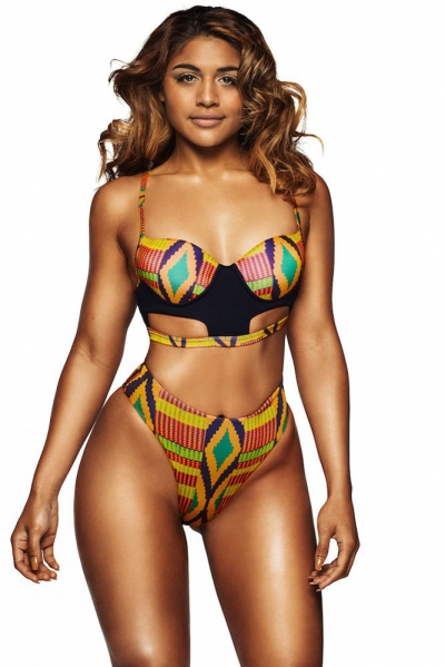 Bright African Print Cut out High Waist Swimsuit