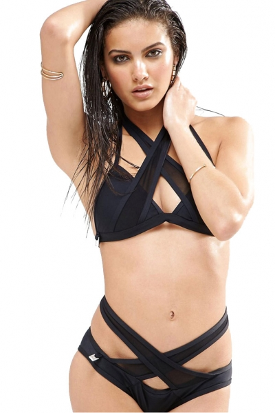 Black Mesh Cutout Wrapped 2pcs Bikini Swimsuit