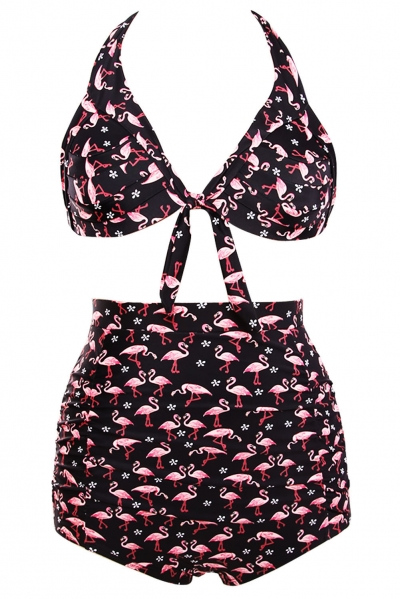 Waterfowl Print Black Retro High Waist 2 Pieces Swimsuit