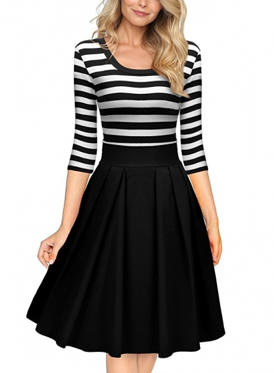 Black White Stripes Scoop Neck Sleeved Casual Swing Dress
