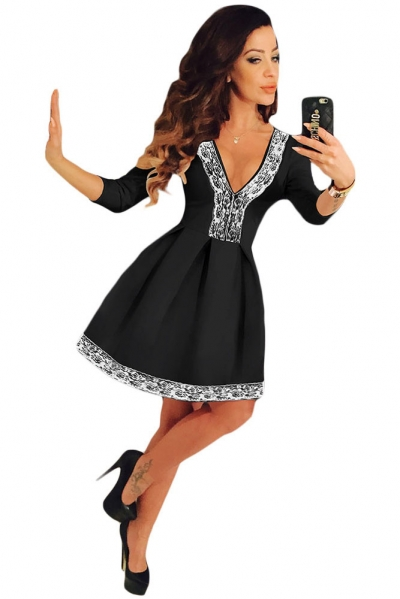 Lace Trim V Neck Sleeved Black Skater Dress