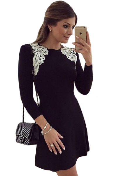 Lace Shoulder Applique Black Long Sleeve Skater Dress