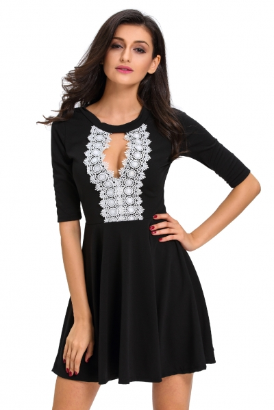Crochet Lace Keyhole Stylish Black Skater Dress