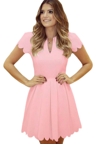 Pink Sweet Scallop Pleated Skater Dress