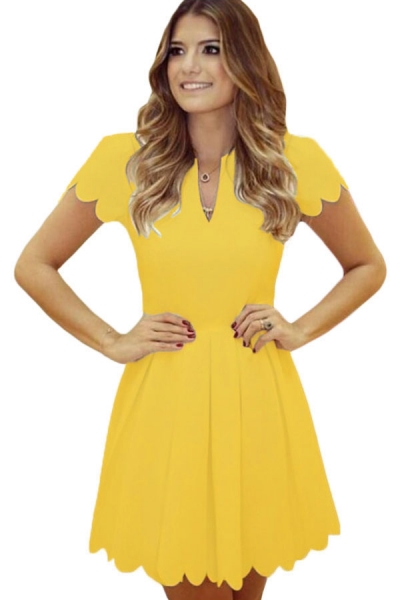 Yellow Sweet Scallop Pleated Skater Dress