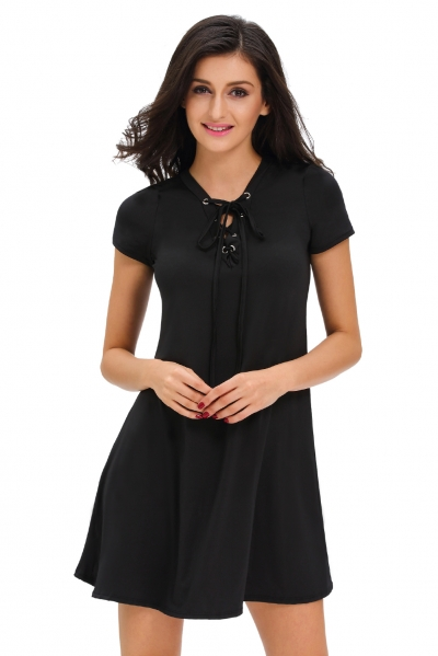 Black Casual Lace-up Swing Dress