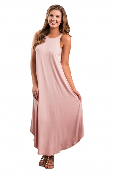 Pink Sexy Chic Sleeveless Asymmetric Trim Maxi Dress