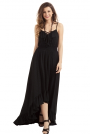 Black Lace Up V Neck Ruffle Trim Hi-low Maxi Dress