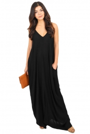 Black Boho Pocketed Maxi Dress