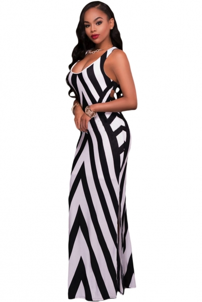 Black White Stripes Cutout Back Sleeveless Maxi Dress