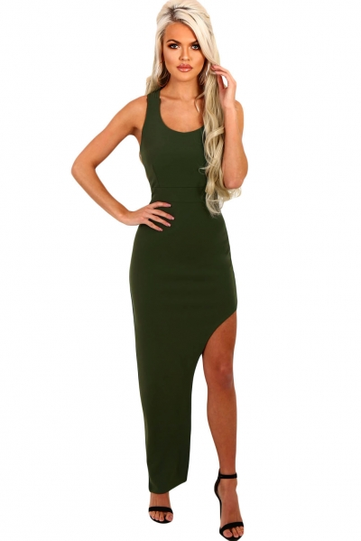 Army Green Strappy Side Split Maxi Dress