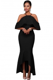 Black Ruffled Sleeves High-low Hem Party Maxi Dress
