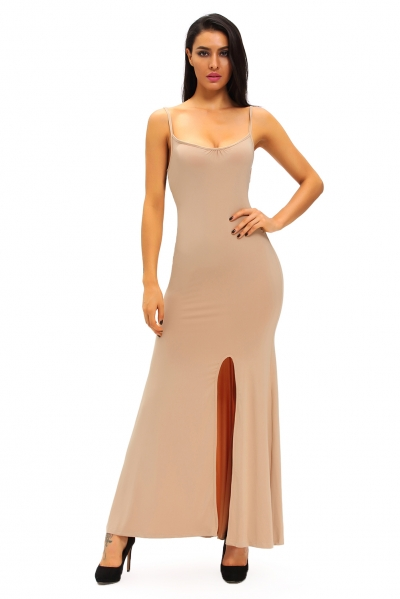 Apricot Spaghetti Straps Elastic Cutout Back Maxi Dress