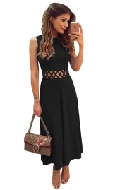 Black Caged Waist Fit and Flare Maxi Dress