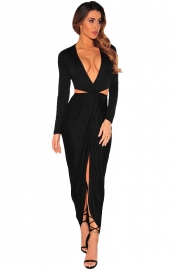 Black Cut Out Drape Slit Long Sleeve Maxi Dress
