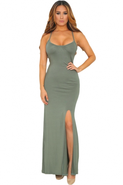 Greenish Spaghetti Straps Elastic Cutout Back Maxi Dress