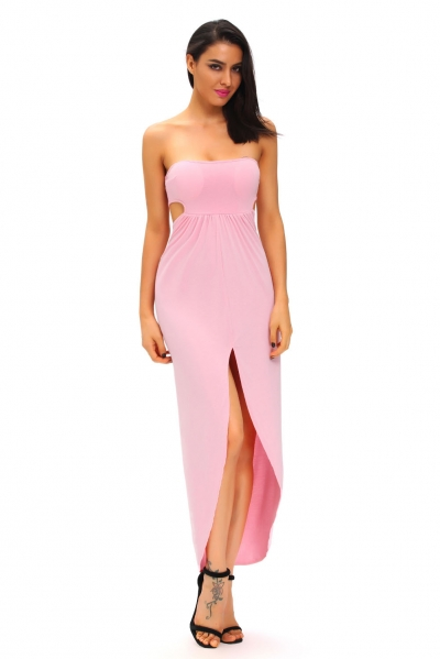 Pink Draped Hollow-out Maxi Dress