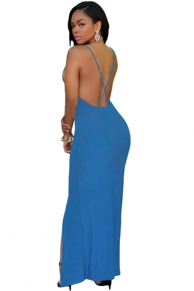 Blue Crisscross Daring Back Maxi Dress