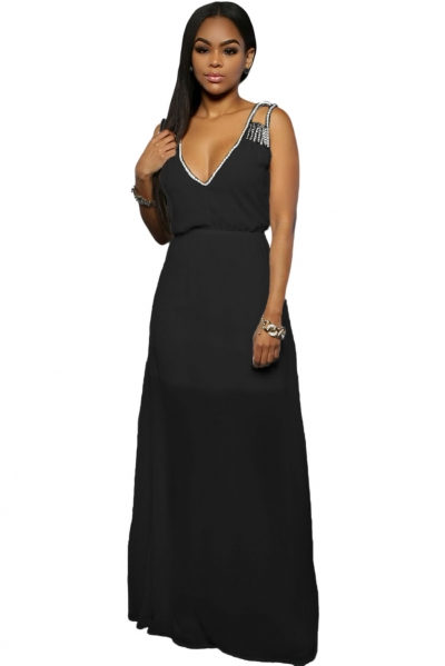 Black Sequins Accents Maxi Dress