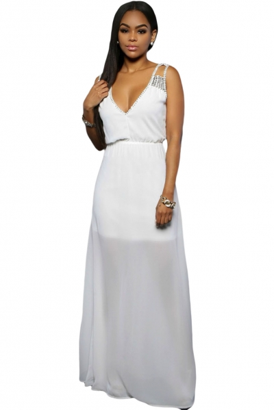 White Sequins Accents Maxi Dress