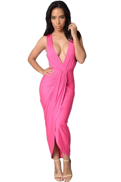 Rosy Draped Slit Front Maxi Dress