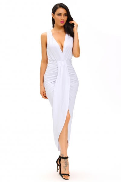 White Draped Slit Front Maxi Dress
