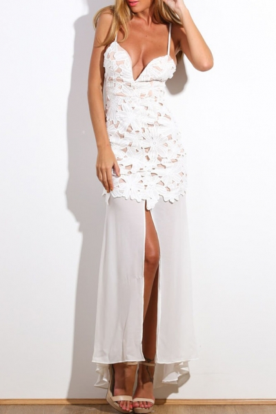 White Flower Applique Maxi Dress