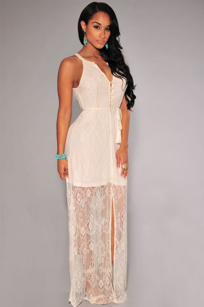 Gorgeous Lace Slit Maxi Dress