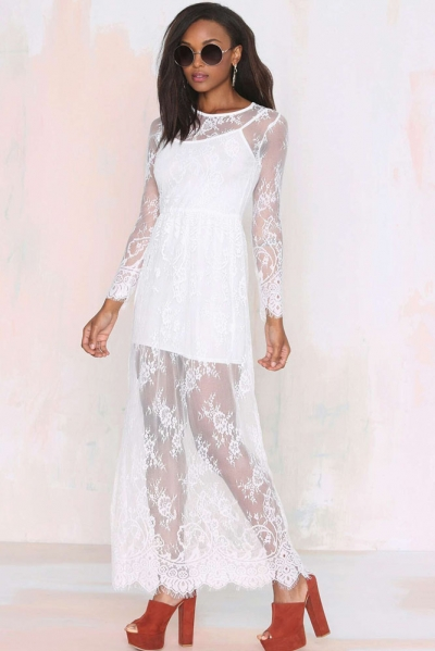 White Reverse Lace Lady Maxi Dress