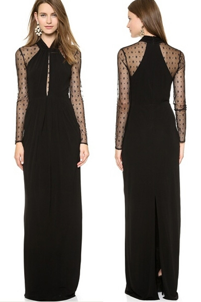 Black Long Draped Maxi Dress with Mesh Sleeves
