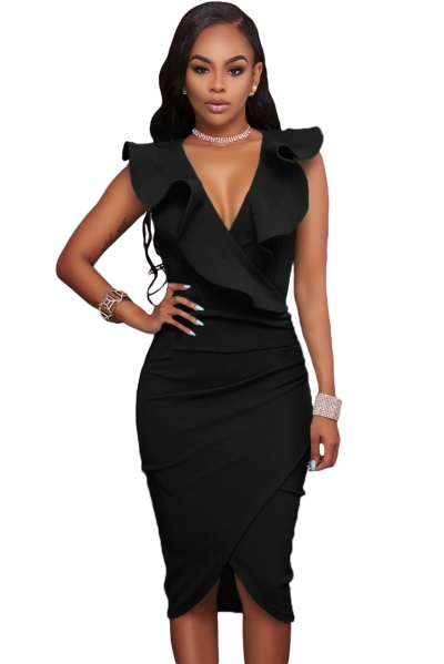 Black Ruffle V Neck Bodycon Midi Dress