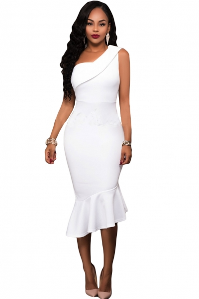 White Single Shoulder Ruffle Party Dress
