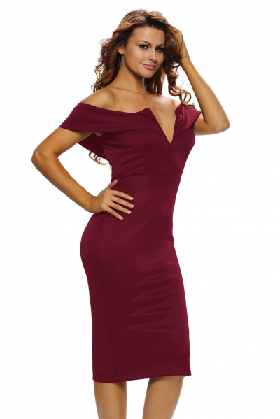 Burgundy Off-the-shoulder Midi Dress