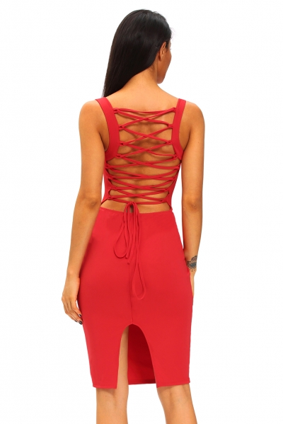 Red Corset-Style Back Lace Up Dress