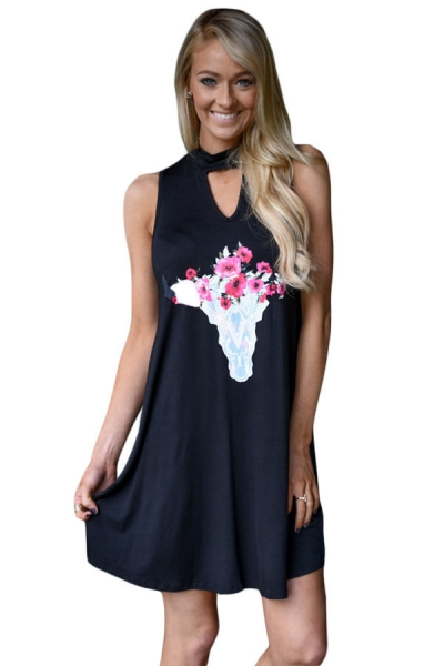 Floral Keyhole Front Casual Tank Dress