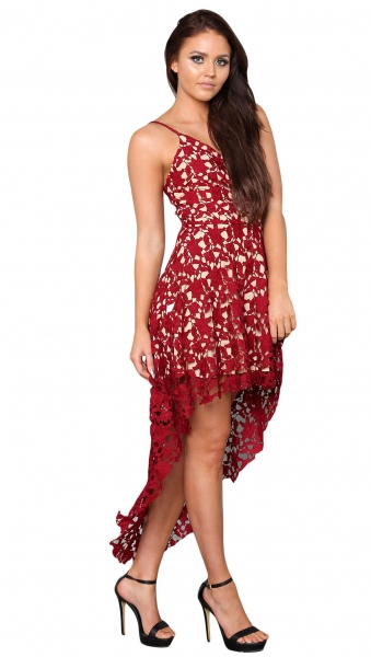 Date Red Hollow Lace Nude Illusion Hi-low Party Dress