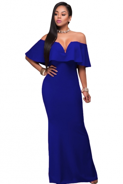 Royal Blue Ruffle Off Shoulder Maxi Party Dress