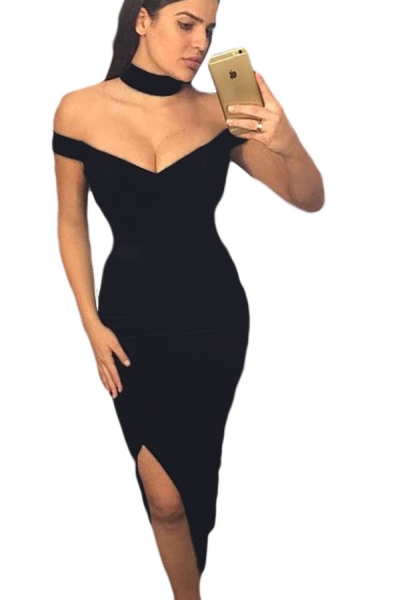 Black Luxurious Long Party Dress with Choker