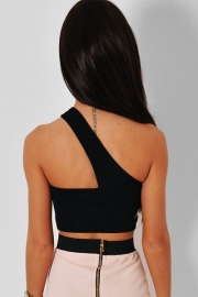 Black Asymetric Cage Cut Out Crop Top