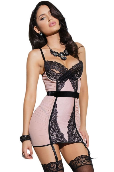 3pcs Blush Lace Trim Bustier