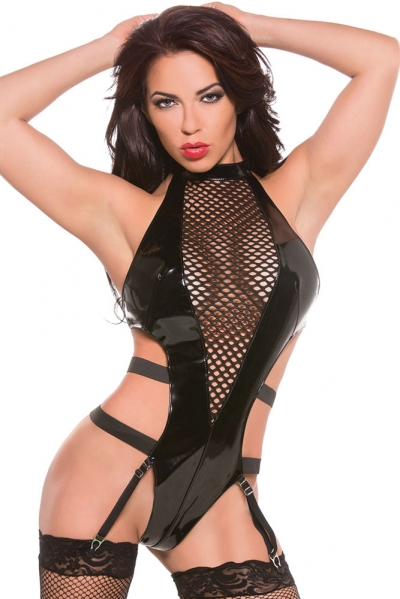 Black Mesh Insert Leather Teddy with Garters