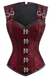 12 Steel Bone Double Buckle Straps Lace Up Corset Burgundy
