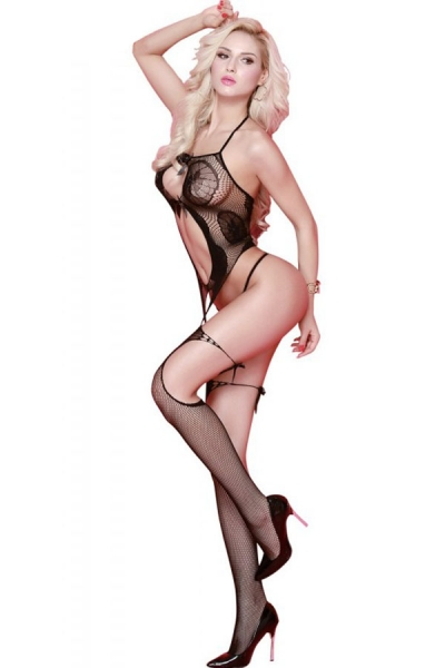 Sexy Bowknot Cut out Suspender Design Body Stocking