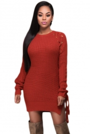 Henna Knit Lace up Side Long Sleeves Sweater Dress